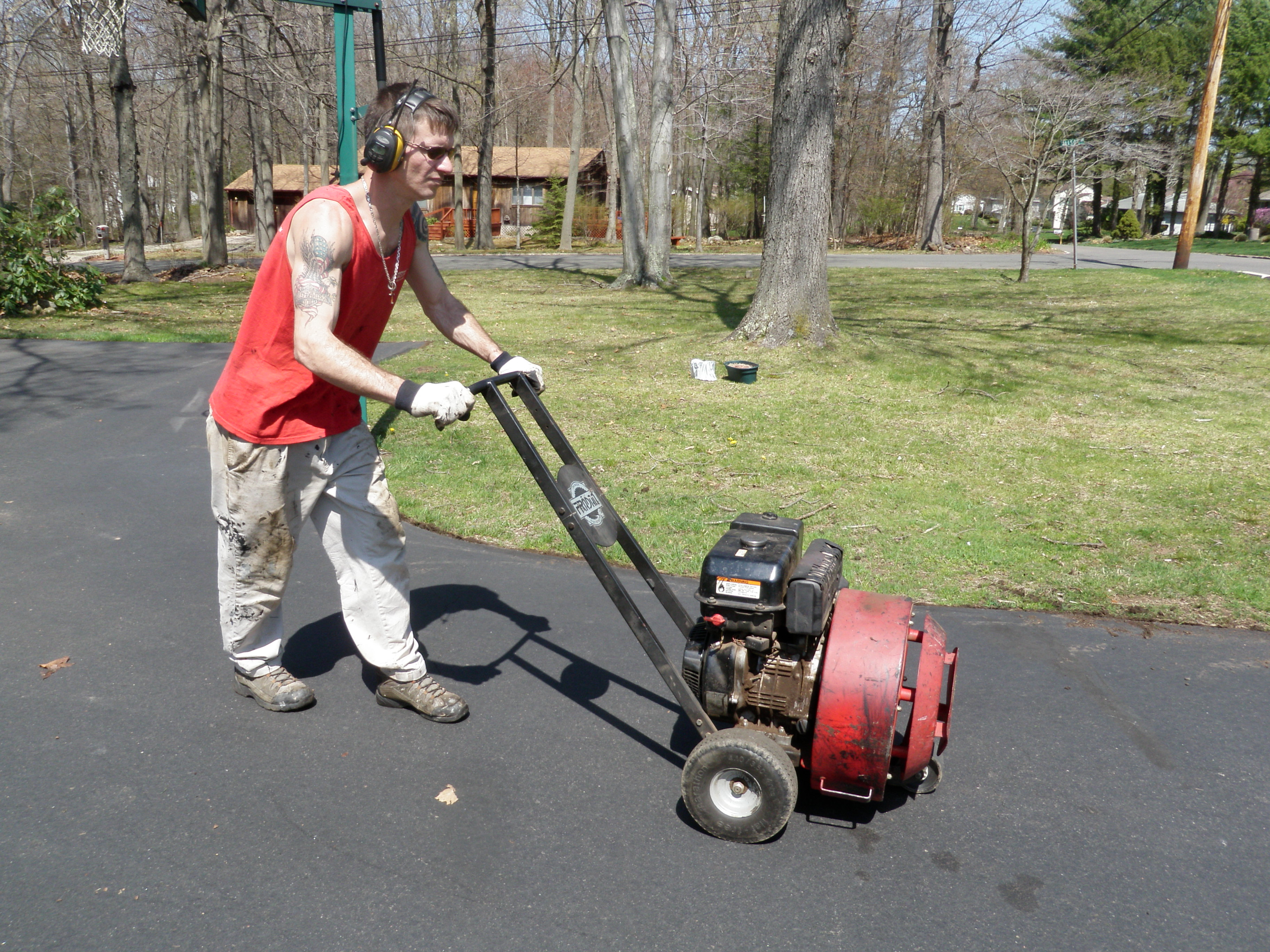 Using Blower for Dirt and Leaves